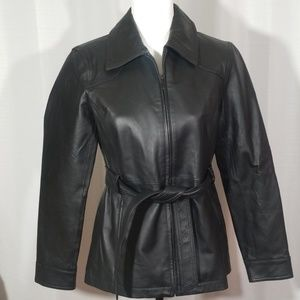 East 5th genuine leather zippered black jacket. S